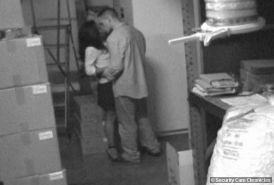 Horny couple fucking in the store caught by security cam