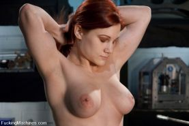 Amateur red head babe with REAL DD tits and luscious booty fucks machines for th