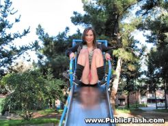 Upskirts flasher on slide and swing in public park