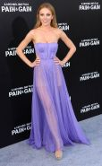Bar Paly braless wearing purple transparent backless dress at the Pain And Gain