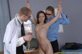 Female and male dirtiness at a nude medical exam