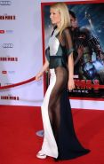 Gwyneth Paltrow pantyless wearing a partially see through dress at the' Iron Man