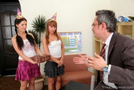 Lucky old teacher getting FFM groupsex bribe from teen students