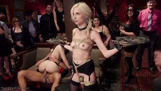 Piper is tied up, helpless and unable to move while her wet pussy is split on a