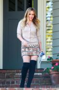Hilary Duff leggy wearing mini skirt  fuck-me boots out in Beverly Hills