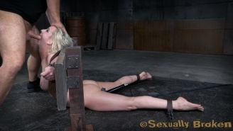 Bound in a brutal back arch that cranks her face up to fucking height and a vibr
