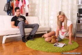Blonde teen angel in hardcore fucking and creampie