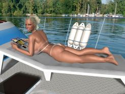 Blonde 3D babe with huge natural boobs sunbathes on sea yacht