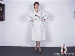 Stunning body milf raincoat lingerie and grey nylons dominatrix