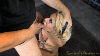 Courtney Taylor blonde beauty is bound and goes crazy for big cocks