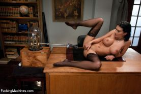 Robot vs. Woman- Bailey Brooks looks you in the eye, spreads her stocking legs w