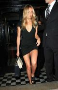 Cameron Diaz very leggy in black mini skirt and almost upskirt while enter in ca