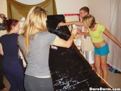 Smoking hot young college babes get fucked and licked in this dorm room orgy aft