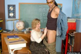 Fat mature teacher getting fucked by a black stud in classroom #75511989