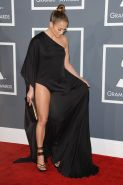 Jennifer Lopez leggy wearing a high slit black dress at 55th Annual Grammy Award