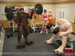 3D sex monsters fucking in the gym
