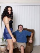 Hairy mature does lap dance hard and gets naked