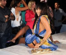 Bai Ling showing her thong and ass in long dress and nipple slip