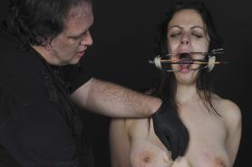Slave Beauvoirs extreme needle torture and tongue tied