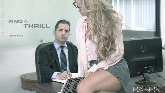 Busty secretary fucks with her boss in office