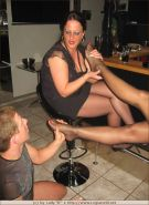 Lady Barbara gets her nylon legs worshiped at her private party
