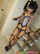 Tall thin Eaw poses in lingerie on the stares then strips out of it