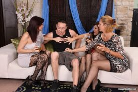 Cougar Roxanne Hall in group hardcore sharing cock