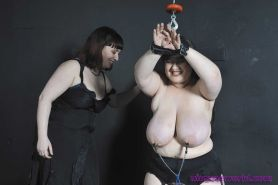 Lezdom tortures of tied chubby uk slavegirl Adele Haze in lesbian bdsm and big b