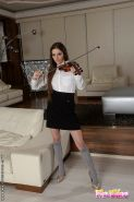 Milena Devi short skirt high socks babe gets her ass fucked and