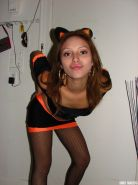 Latina teen is ready for Halloween in her cute Kitty costume