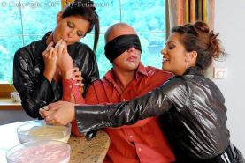 Two glamour beauties doing some blindfolded guy