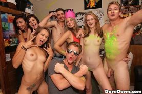 Amateur college freshmen students party and fuck in dorm room