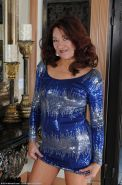 Busty mature strips off her sexy sparkly dress