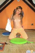 Petite teen with pigtails shows her small tits and hot pussy #71466214