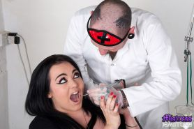 Dentist Billy hurts Mistress Jemstones face and pays a price