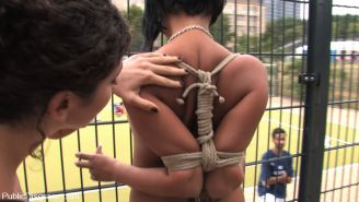Girl gets tied up and exposed to field of soccer players