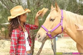 Teen cowgirl Gabriella Ford riding a ranch hand with a giant dick