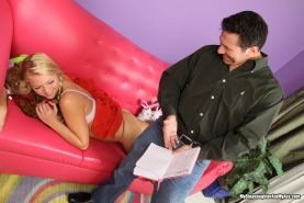 Blonde teen scaning her stepfather asshole with her tongue