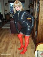 Fetish wife in tight latex outfit and stockings