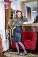 Ella Hughes in leather skirt black ff nylons and lacy lingerie