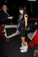 Bai Ling leggy in black mini skirt and exposing her sweet small tits