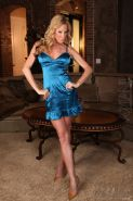 Nicole Sheridan strips off her silk blue dress and plays with her toy
