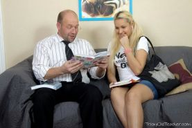 Blonde teen Andrea Sultisz screwed by lucky old professor