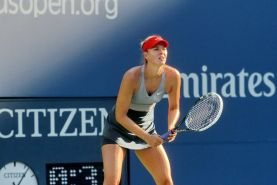 Maria Sharapova flashing her black panties at the US Open tennis tournament in N