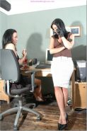 Hot lesbian boss puts her leather gloved hands all over her cute and sexy office