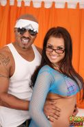 Eva Angelina in glasses gets soaked by jumbo black cock cumshot