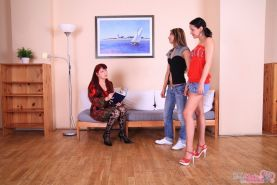 Innocent-looking rosebuds learn wild lesbian tricks from horny mature whores