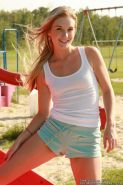 Cute eighteen year old Private School Jewel strips on playground