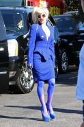 Lady Gaga shows side-boob wearing sexy blue outfit outside Amp Radio in LA