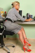 Blonde Business Woman In Fully Fashioned Nylons and High Heels